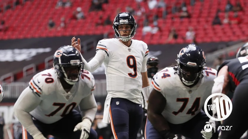 (3) Nick Foles  Sept. 27, 2020  Foles replaced an ineffective Mitchell Trubisky in the second half last Sunday in Atlanta and threw three touchdown passes to turn a 26-10 deficit into an improbable 30-26 win over the Falcons.