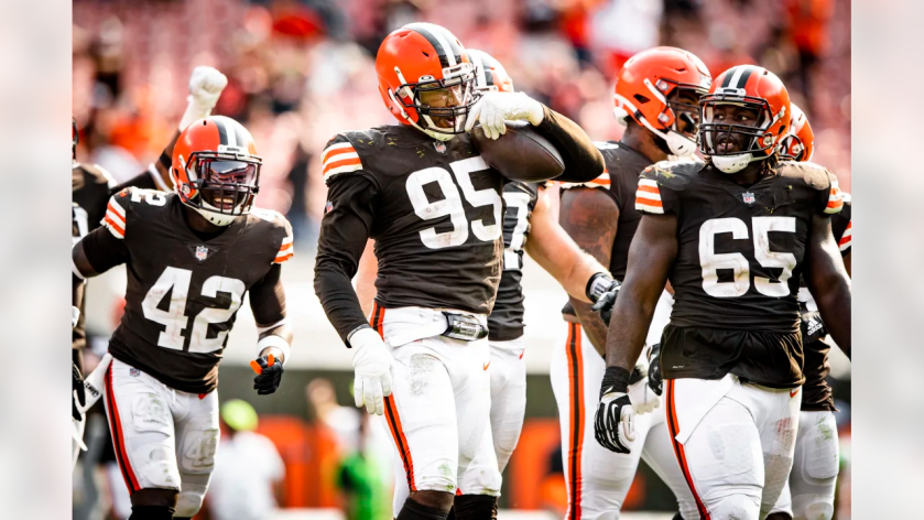 Defensive end Myles Garrett (95) during a NFL football game between the Washington Football Team and Cleveland Browns on September 27, 2020 at FirstEnergy Stadium. The Browns won 34-20.
