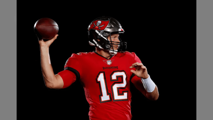 TAMPA, FL - MAY 11, 2020 - Quarterback Tom Brady #12 of the Tampa Bay Buccaneers is photographed in uniform for the first time as a member of the Bucs. Photo By Matt May/Tampa Bay Buccaneers