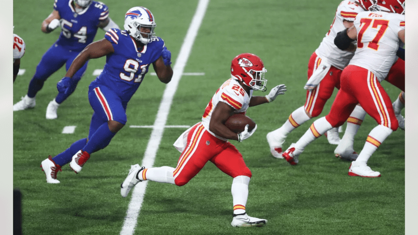Kansas City Chiefs running back Clyde Edwards-Helaire (25) during an NFL football game against the Buffalo Bills at Bills Stadium on Monday, Oct. 19, 2020