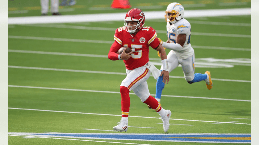 Kansas City Chiefs quarterback Patrick Mahomes (15) during the game between the Kansas City Chiefs and the Los Angeles Chargers at SoFi Stadium on September 20, 2020