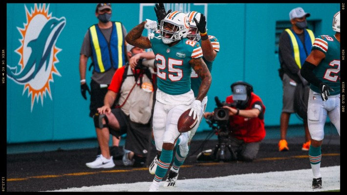 following an NFL football game against the Kansas City Chiefs Sunday, Dec. 13, 2020 in Miami Gardens, Fla. (Carlos Goldman/Miami Dolphins)