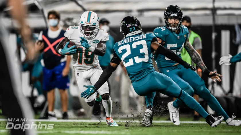 Wide receiver Jakeem Grant (19) during an NFL Football game against the Jacksonville Jaguars at TIAA Field in Jacksonville, Florida on Thursday, September 24th, 2020 (Carlos Goldman/Miami Dolphins)