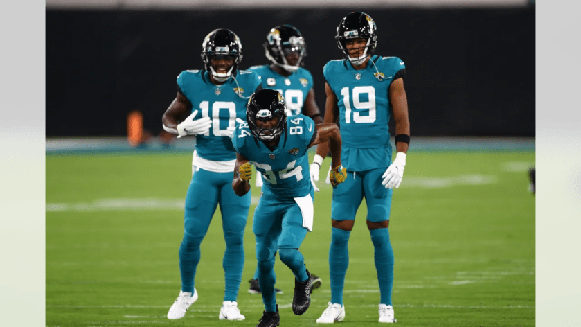 Jacksonville Jaguars wide receiver Keelan Cole (84) warms up prior to the NFL football game against the Miami Dolphins on Thursday, September 24, 2020 in Jacksonville, Florida. (Logan Bowles/NFL)