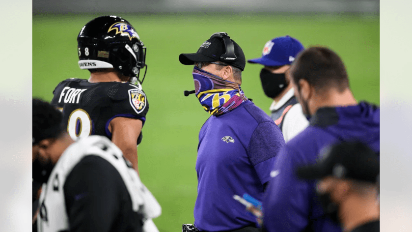 Baltimore Ravens head coach John Harbaugh watches his team during the first half of an NFL football game against the Kansas City Chiefs, Monday, Sept. 28, 2020, in Baltimore. (AP Photo/Nick Wass)