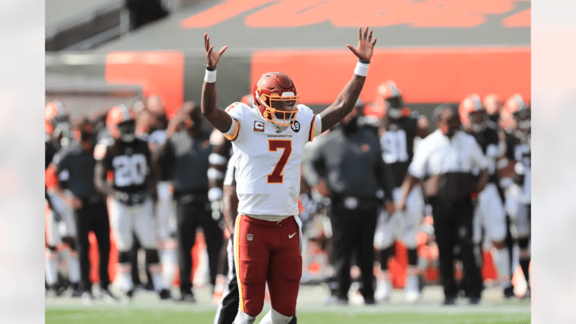 Washington Football Team quarterback Dwayne Haskins (7) reacts during NFL football game against the Cleveland Browns on Sunday, September 27, 2020 in Cleveland, Ohio. (Aaron Doster/NFL)