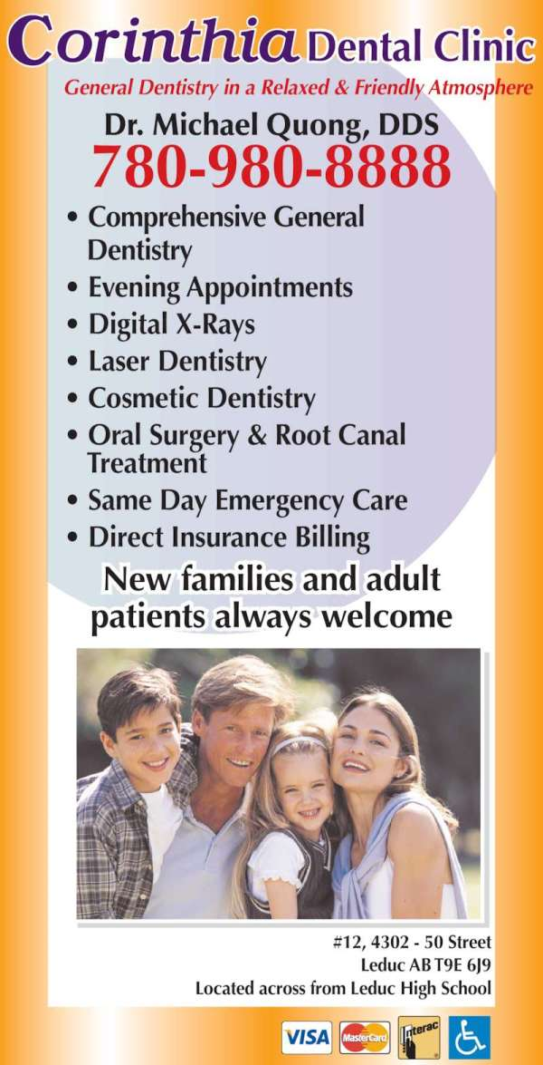 Corinthia Dental Clinic - Opening Hours - 12-4302 50 St ...