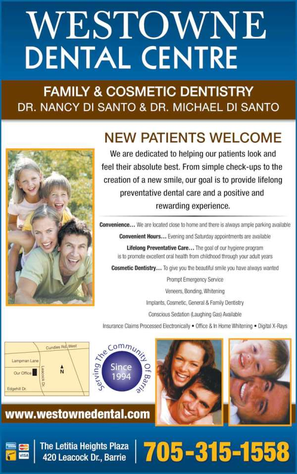 Westowne Dental - Opening Hours - 420 Leacock Dr, Barrie, ON