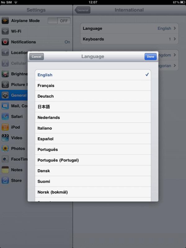 iPad Language dialog (English... as in American English)