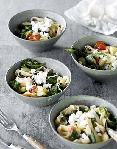 tagliatelles aux 3 legumes et au chevre