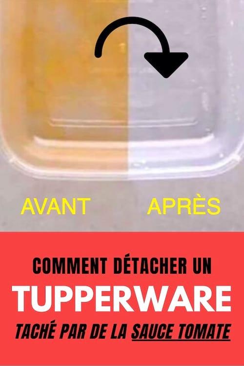 tupperware taché par de la sauce tomate avant après avec un texte : comment détacher un tupperware taché
