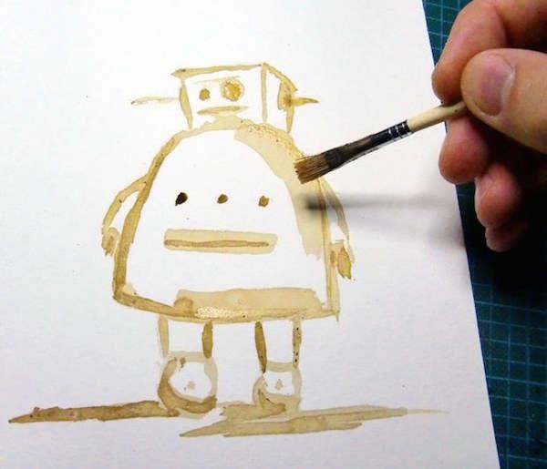 Faire de la peinture avec du marc de café et de l'eau