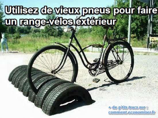 Range vélo fait maison en pneus