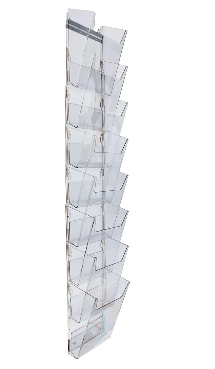 8 tiered acrylic magazine wall rack 8 5 w 8 pockets clear