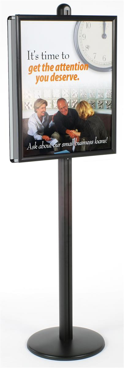 22 x 28 poster stand snap open double sided 6 feet tall round base black
