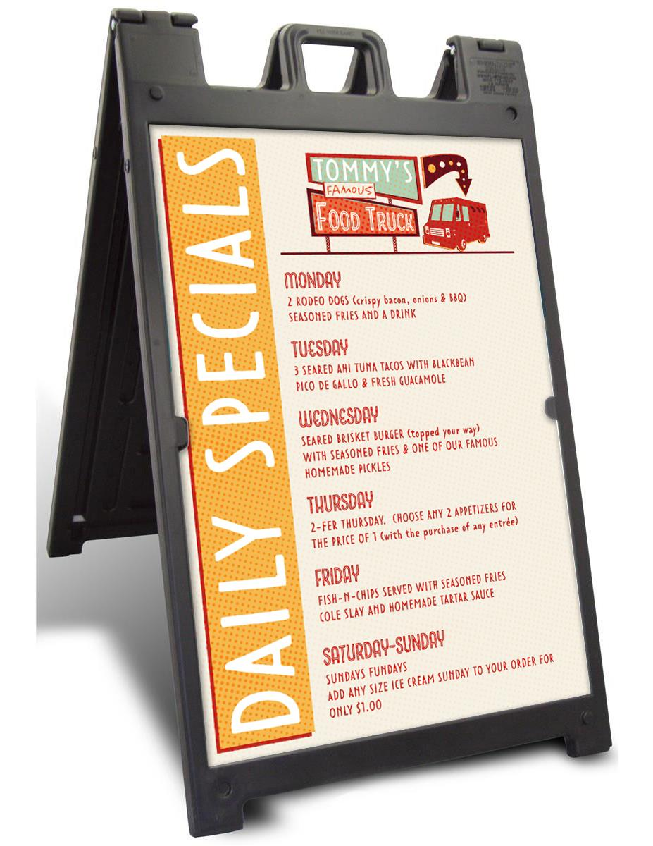 sidewalk sign with 2 24 x 36 poster boards double sided fillable base black