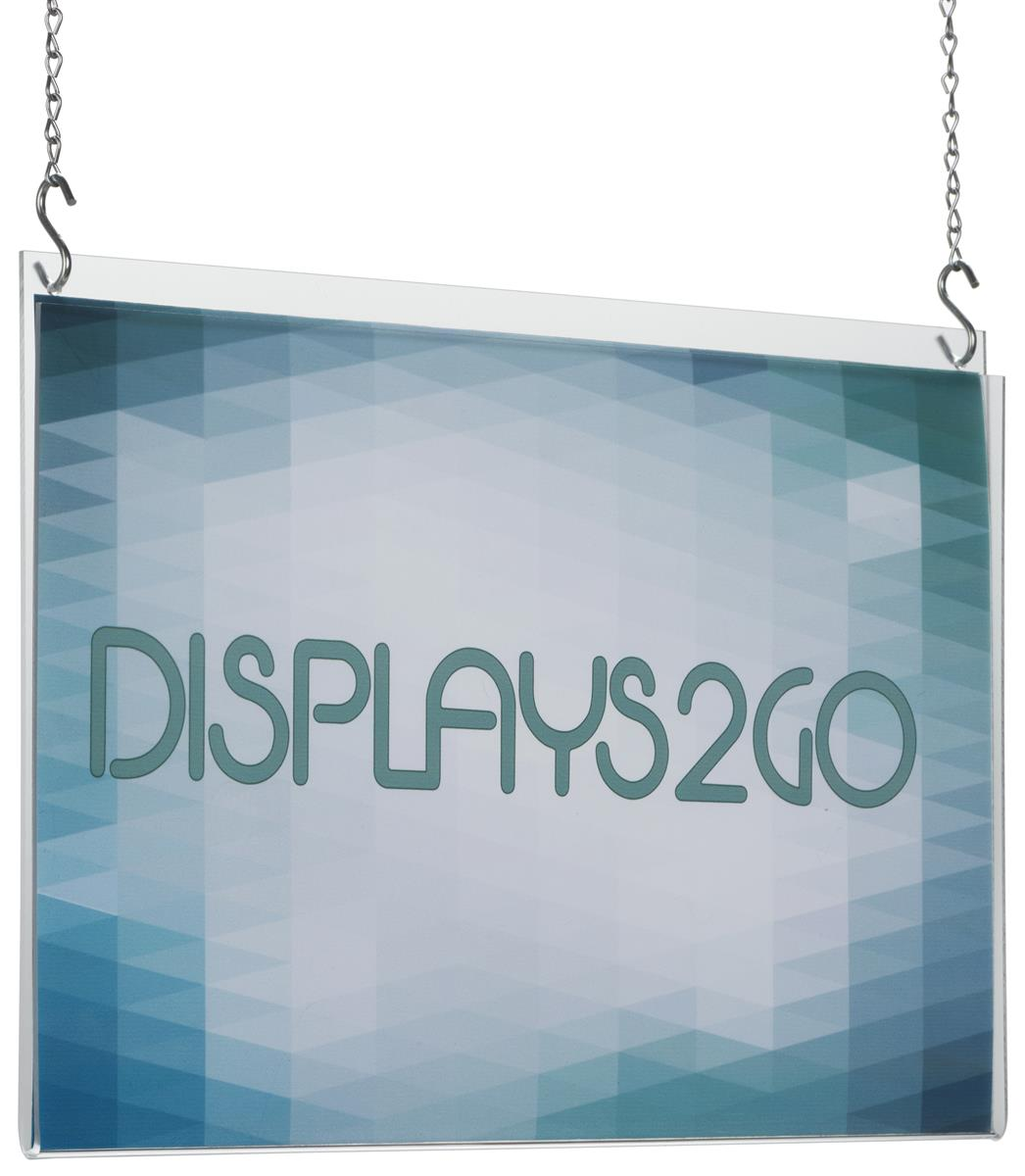 workshop series 17 x 11 hanging sign frame with 2 10 foot chains clear acrylic