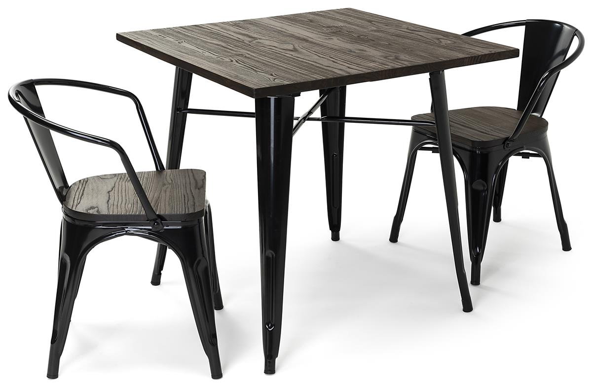 wood and metal furniture dining set w 30 h square table 2 stackable chairs black