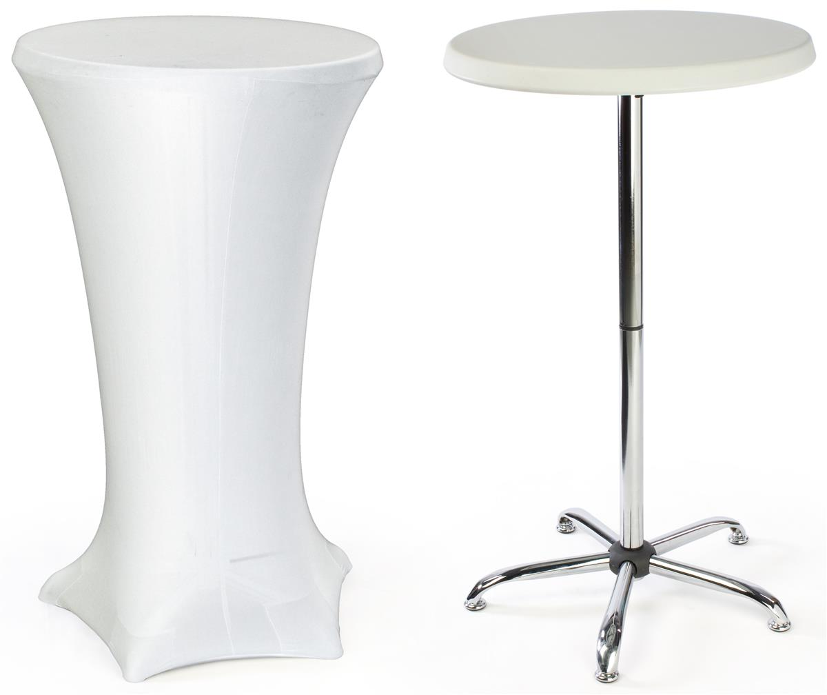 27 x 47 round cocktail table with fitted stretch tablecloth white