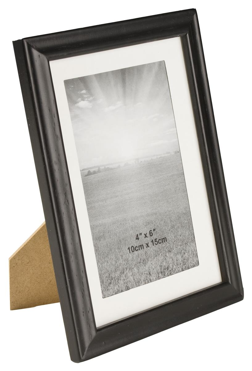 5 x 7 wood picture frame for tabletop or wall matted to 4 x 6 black