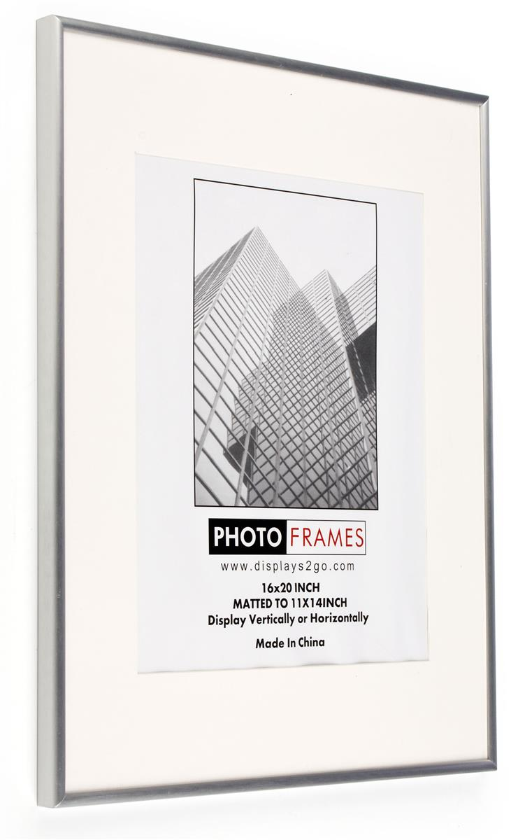 16 x 20 poster frame for wall matted to 11 x 14 white mat 3 8 profile silver