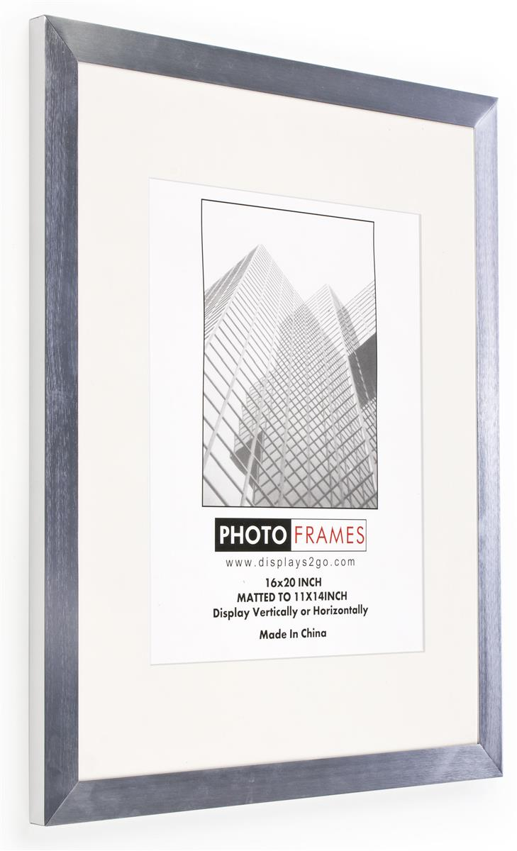 16 x 20 poster frame for wall matted to 11 x 14 white mat 35mm profile silver