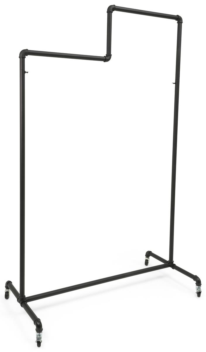 pipeline clothing rack with double tiered bars 4 wheels black