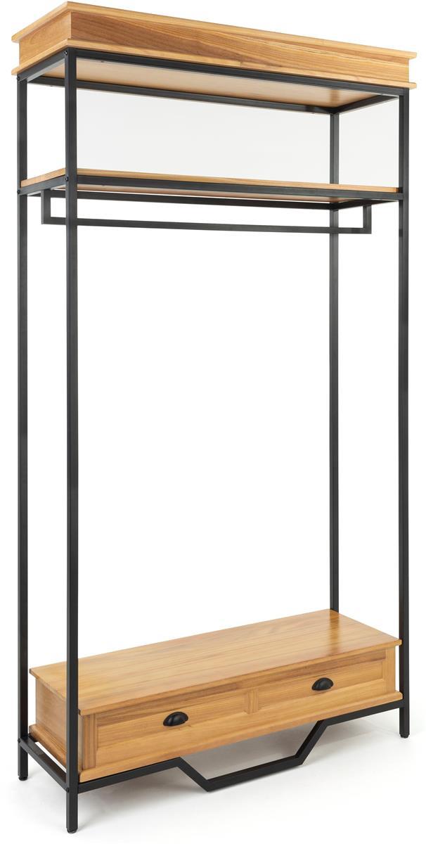 90 5 h farmhouse style clothing rack w 47 rail 2 display shelves natural oak