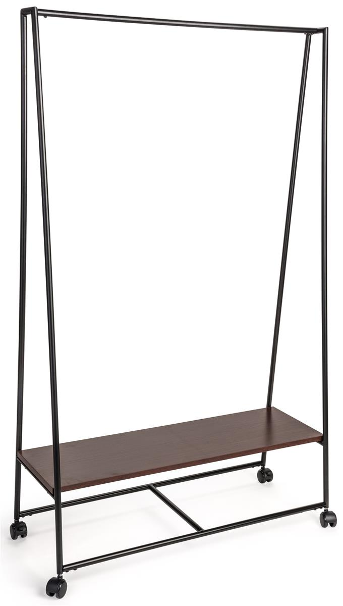 metal pipeline teepee clothes rack with wooden shelf wheeled base black