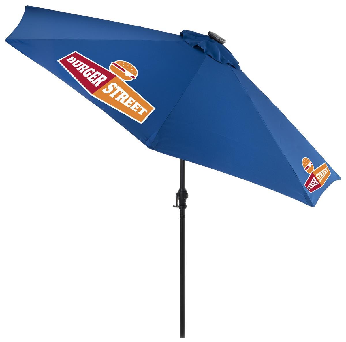 9 patio umbrella 3 color printing and led lights solar powered royal blue