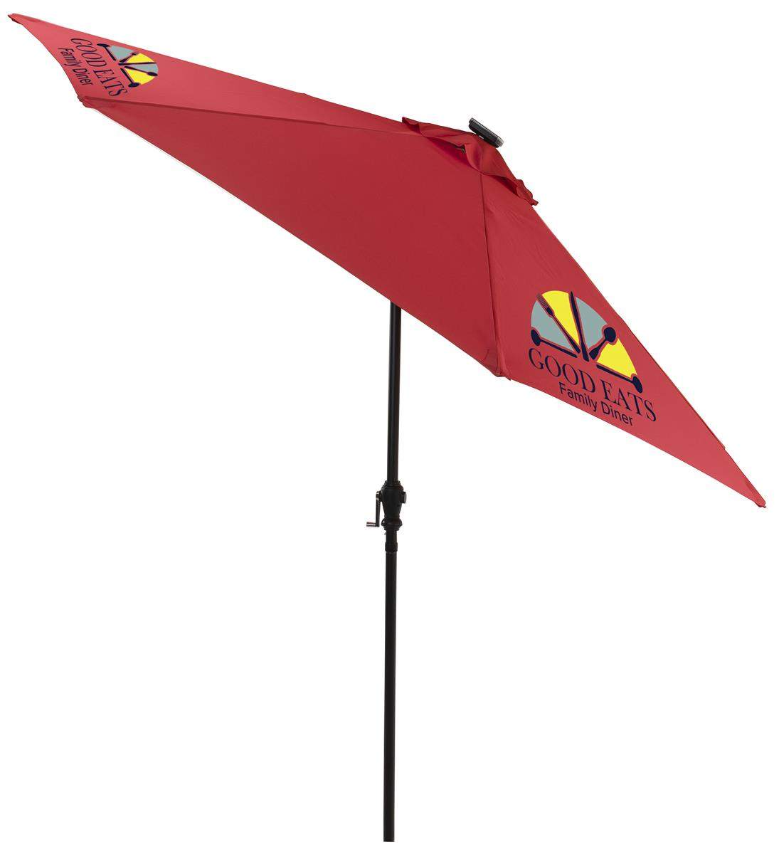 9 patio umbrella 3 color printing and led lights solar powered red