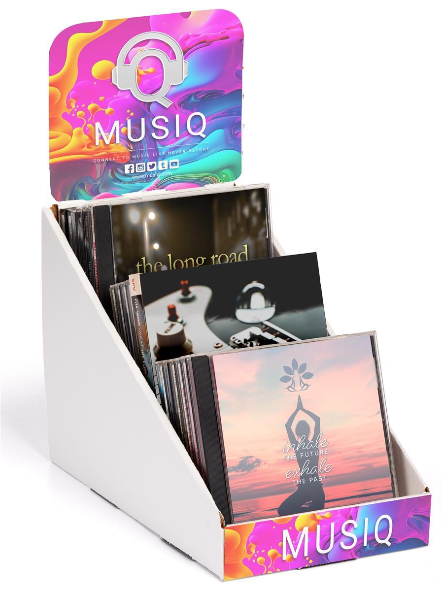 workshop series cardboard display 3 tiers removable header 18 cds 15 dvds white