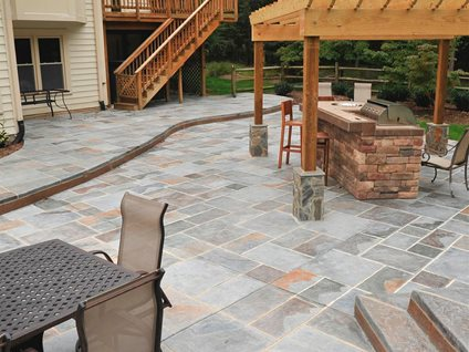 stamped concrete mimics stone pavers