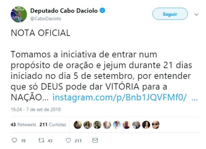 nota - Cabo Daciolo anuncia jejum de 21 dias em nome da 'vitória para a nação'