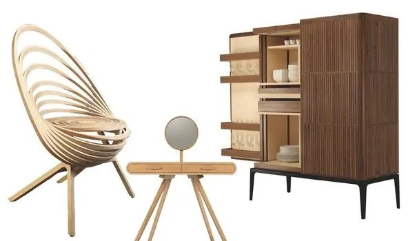 meuble design en bois massif brut