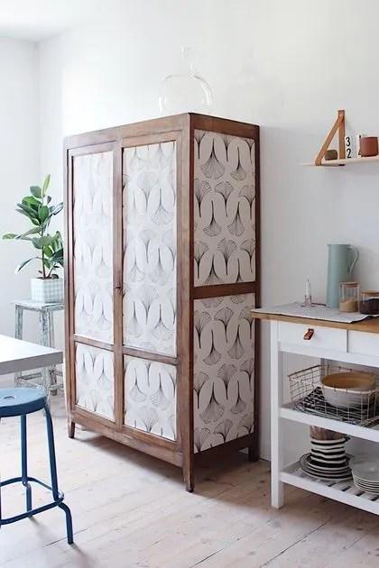 relooking meuble avec du papier peint