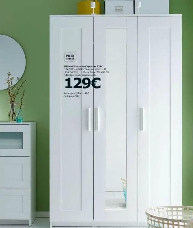 armoire brimnes 3 portes 129 euros l116 x p50 2 x h190 cm