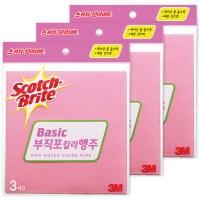 스카치브라이트 부직포 칼라 행주, 혼합 색상, 3매입 x 4개 (TOP 504979)