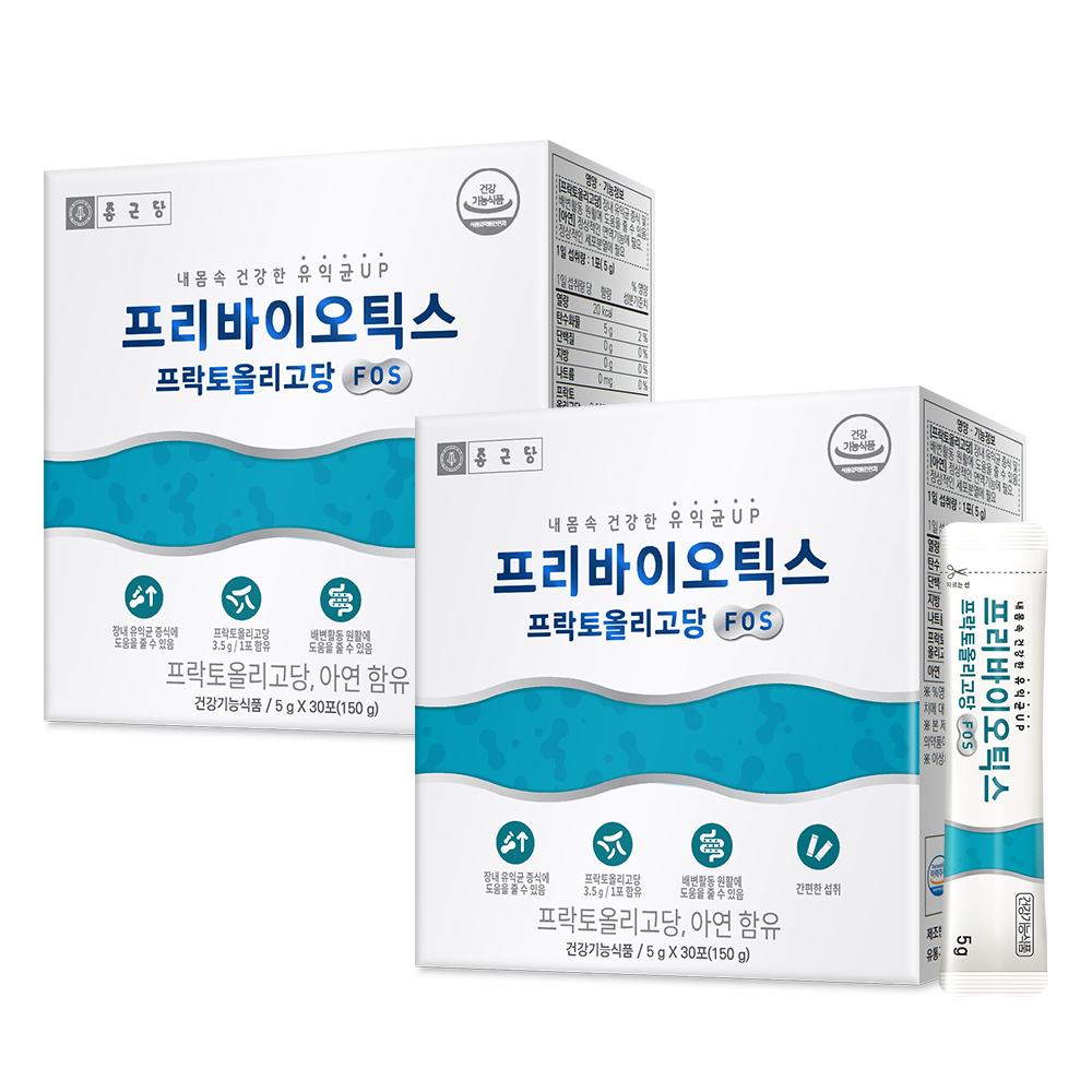 종근당 프리바이오틱스 프락토올리고당 FOS 유산균, 150g, 2박스