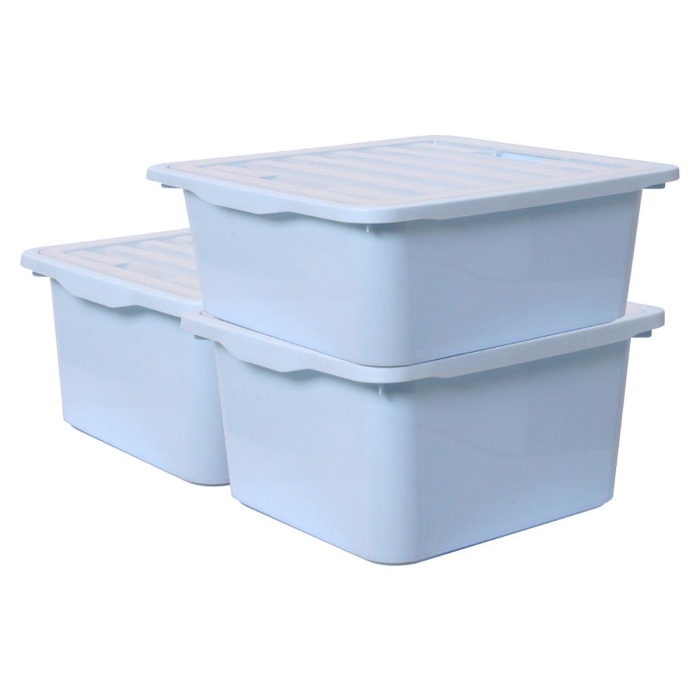 보노하우스 레브스토리지 수납박스 L, 블루, 3개입