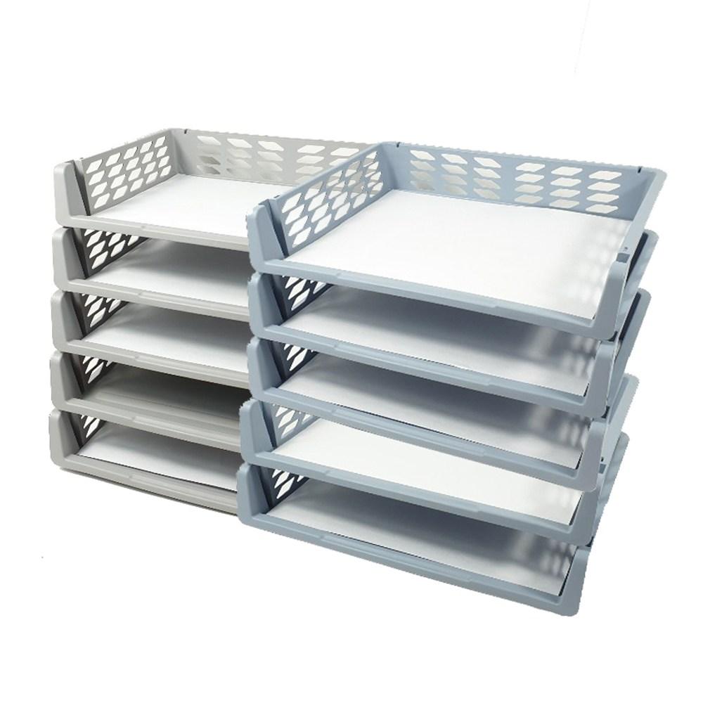 에이포 칸칸 서류정리 바스켓 가로형 2종 x 5p, 1set, 파스텔그레이, 파스텔블루