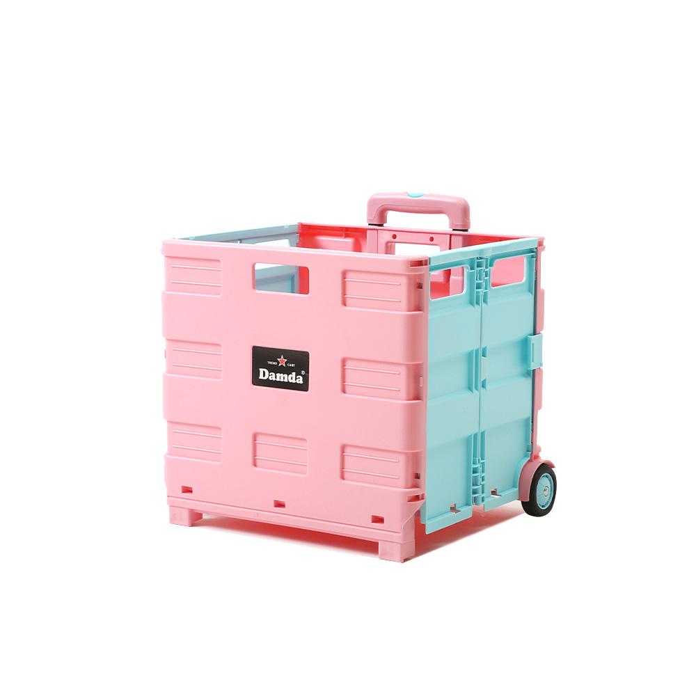 이소품 담다 접이식 쇼핑카트 대 + 뚜껑, 핑크 + 스카이블루, 1세트