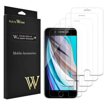 아이폰se2 강화유리 - 더블유케이스 크리스탈 2.5D 고화질 9H 강화유리 휴대폰 액정보호필름 5p, 1세트