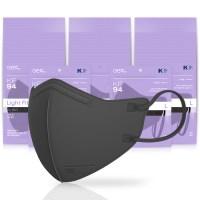 아에르 스탠다드 라이트핏 보건용 마스크 검정색 대형 KF94, 1개입, 50개 (TOP 5354242751)