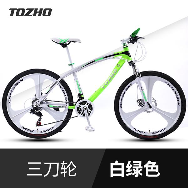 산악 로드 라이딩 듀얼 댐핑 디스크 브레이크 자전거, Ultimate Edition-Curved Beam 화이트 그린 트라이 나이프 원 휠_30 속도_24 인치