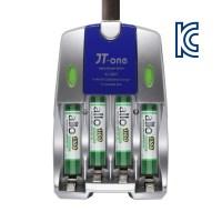 제이티원 C007 충전기+allo 1100mAh AAA 충전지 4알(케이스포함), 1세트, 1set (TOP 13110244)