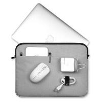 헤이맨 삼성 노트북 플러스2 15인치 블랙라인 극세사 포켓 노트북 파우치, 그레이 (TOP 4758303696)