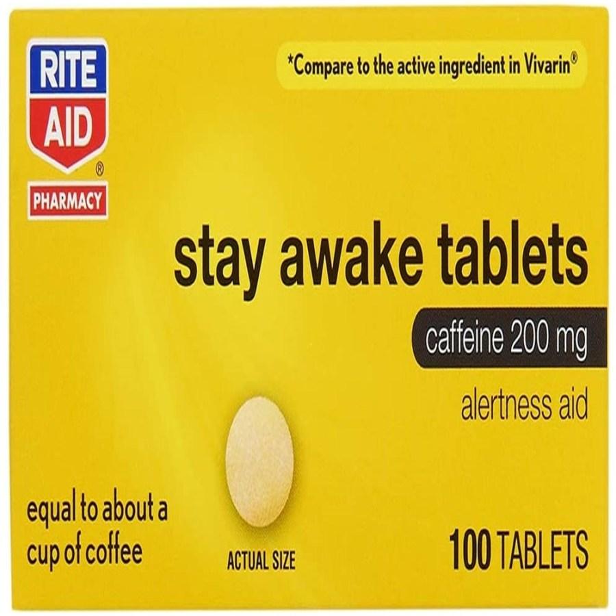 Rite Aid Stay Awake 정제 카페인 알약 200 mg, 단품, 단품