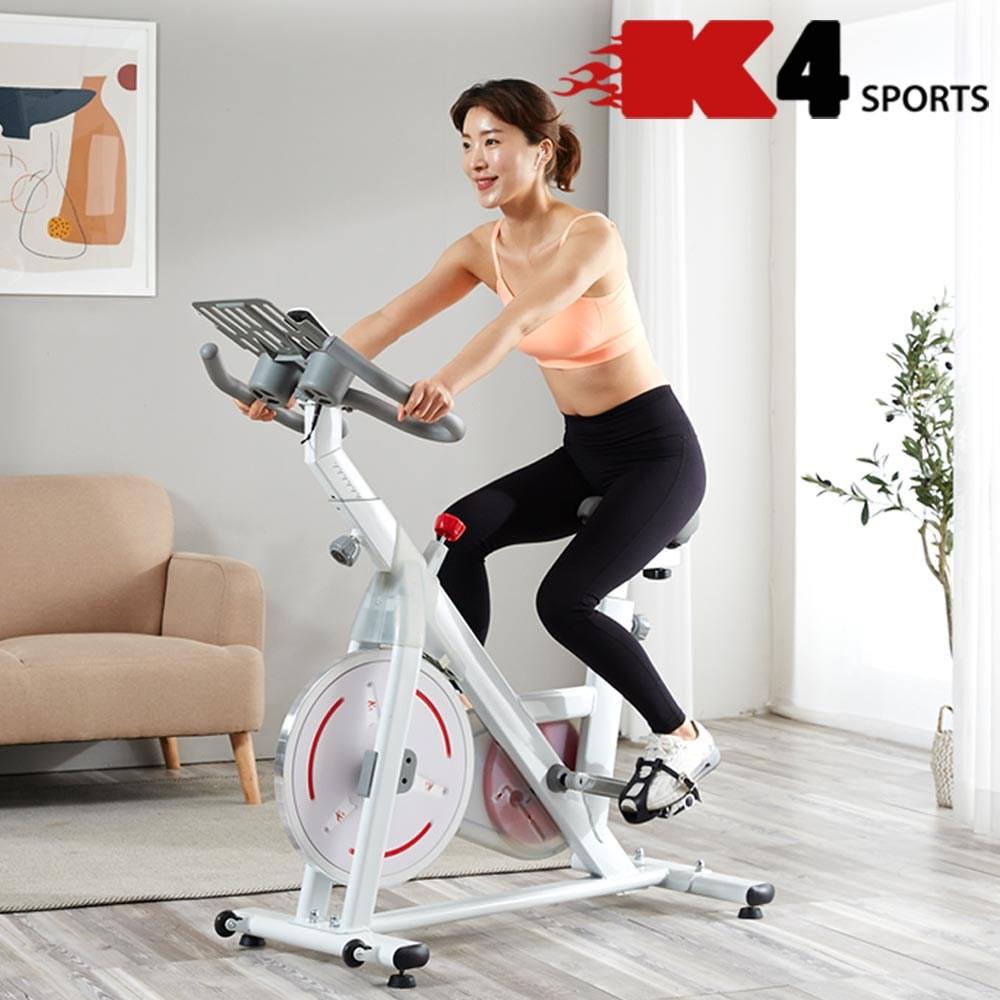 K4스포츠아몸디 K4-342 스핀바이크 마그네틱 저소음실내자전거 스피닝 실내 싸이클 자전거, 화이트, 마그네틱스핀바이크(K4-342)