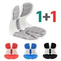 2021 New 콤비체어 1+1 바른자세 허리 교정 슬림 와이드 등받이 커브 의자, (레드 + 레드) (TOP 5309012909)